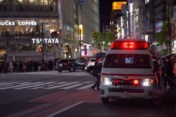 渋谷ハロウィン2020 スクランブル交差点 救急車